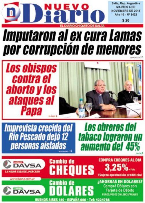 Tapa del 06/11/2018 Nuevo Diario de Salta