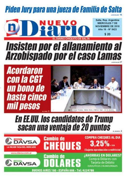 Tapa del 07/11/2018 Nuevo Diario de Salta