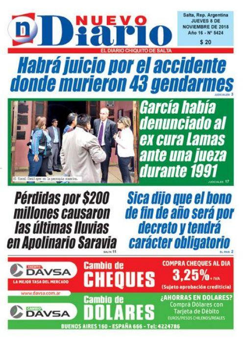 Tapa del 08/11/2018 Nuevo Diario de Salta