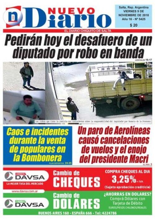 Tapa del 09/11/2018 Nuevo Diario de Salta