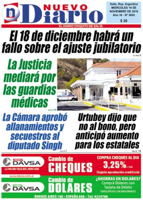 Tapa del 14/11/2018 Nuevo Diario de Salta
