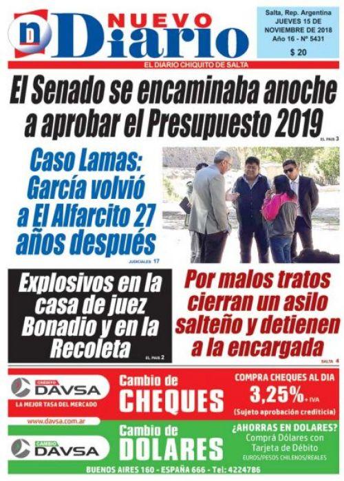 Tapa del 15/11/2018 Nuevo Diario de Salta