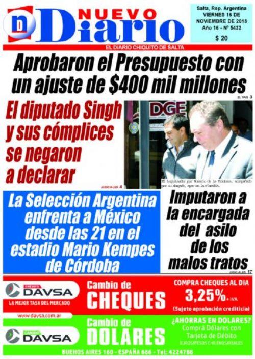Tapa del 16/11/2018 Nuevo Diario de Salta
