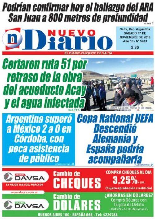Tapa del 17/11/2018 Nuevo Diario de Salta