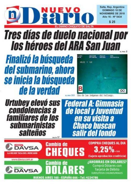 Tapa del 18/11/2018 Nuevo Diario de Salta