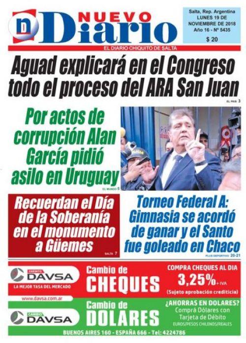 Tapa del 19/11/2018 Nuevo Diario de Salta