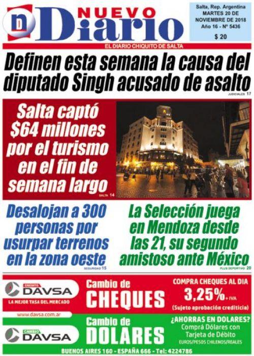 Tapa del 20/11/2018 Nuevo Diario de Salta