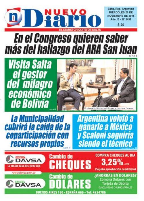 Tapa del 21/11/2018 Nuevo Diario de Salta