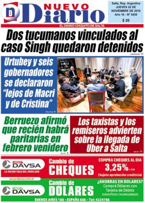 Tapa del 22/11/2018 Nuevo Diario de Salta