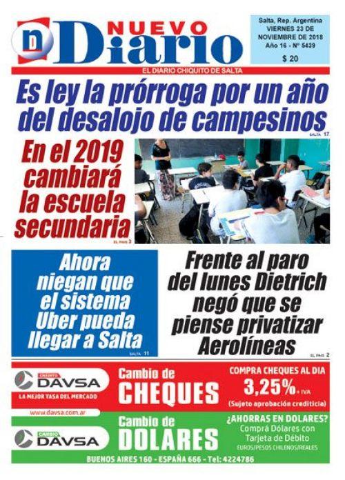 Tapa del 23/11/2018 Nuevo Diario de Salta