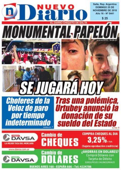 Tapa del 25/11/2018 Nuevo Diario de Salta
