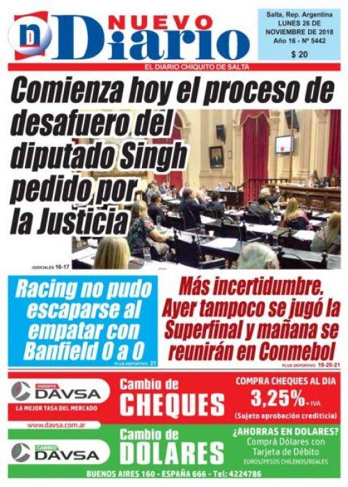 Tapa del 26/11/2018 Nuevo Diario de Salta