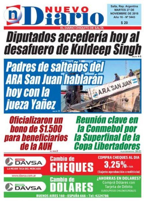 Tapa del 27/11/2018 Nuevo Diario de Salta