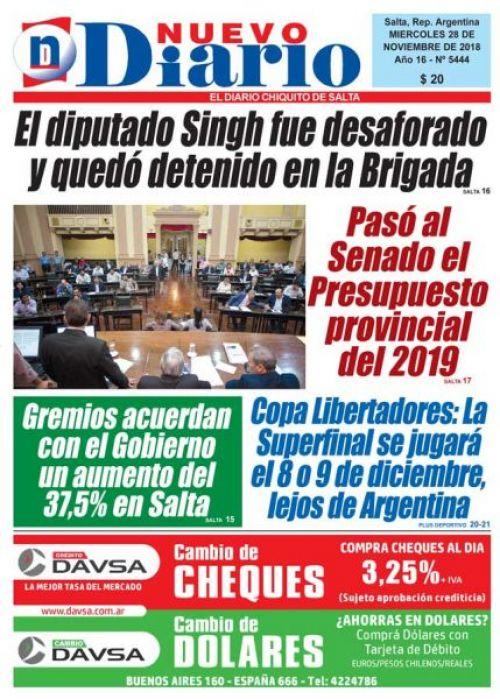 Tapa del 28/11/2018 Nuevo Diario de Salta
