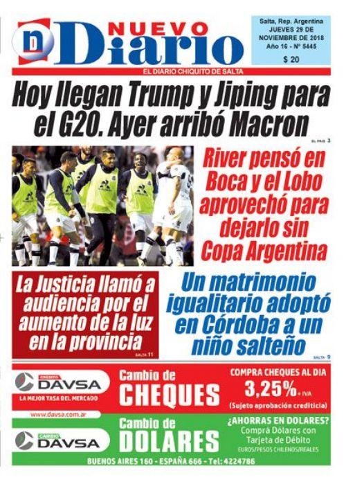 Tapa del 29/11/2018 Nuevo Diario de Salta