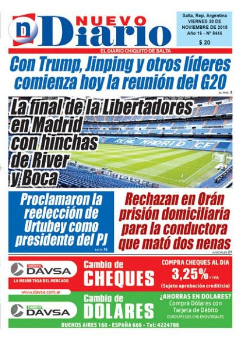 Tapa del 30/11/2018 Nuevo Diario de Salta