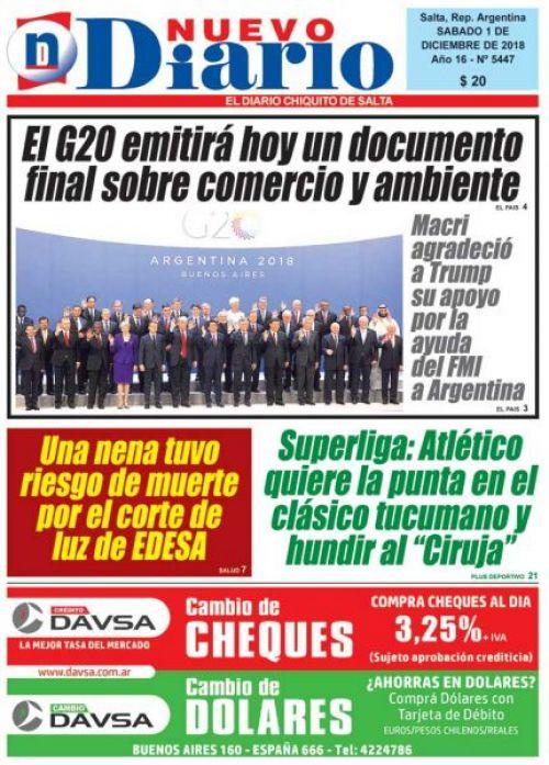 Tapa del 01/12/2018 Nuevo Diario de Salta