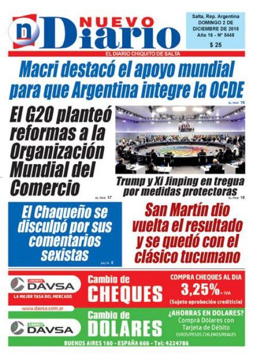 Tapa del 02/12/2018 Nuevo Diario de Salta