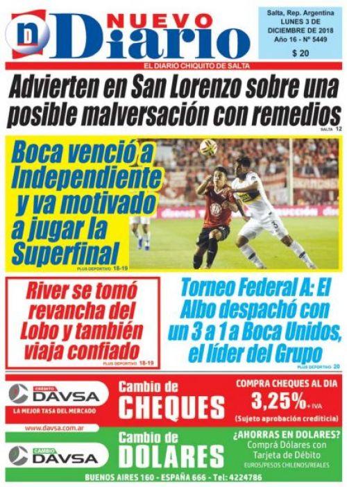 Tapa del 03/12/2018 Nuevo Diario de Salta