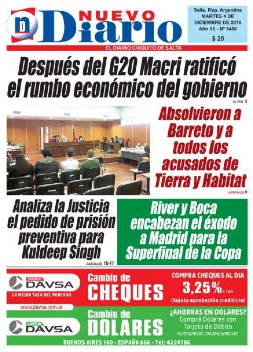 Tapa del 04/12/2018 Nuevo Diario de Salta