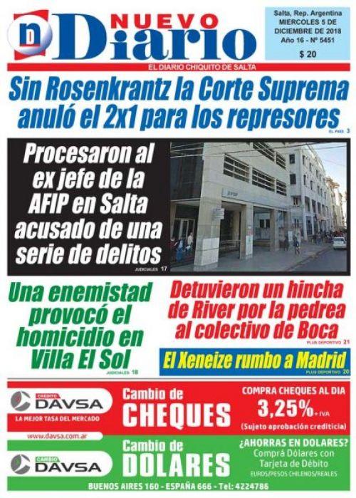 Tapa del 05/12/2018 Nuevo Diario de Salta
