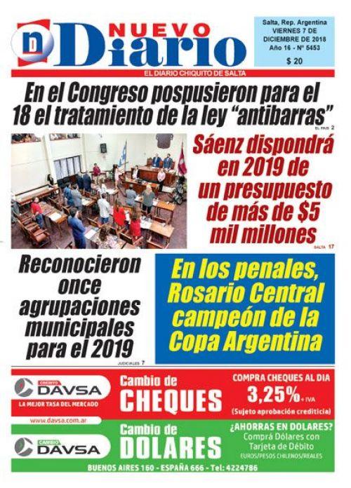 Tapa del 07/12/2018 Nuevo Diario de Salta