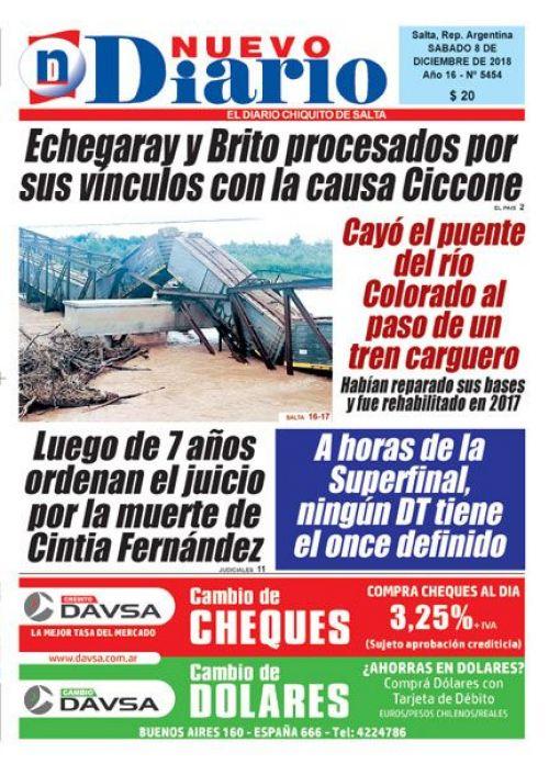 Tapa del 08/12/2018 Nuevo Diario de Salta