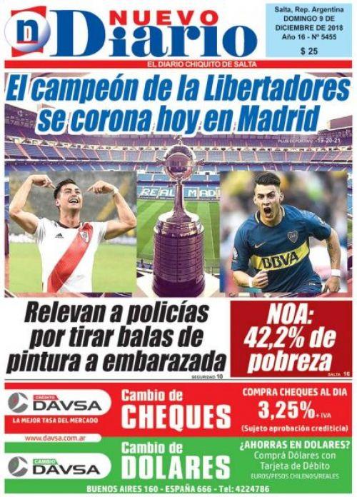 Tapa del 09/12/2018 Nuevo Diario de Salta