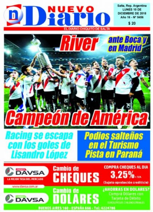 Tapa del 10/12/2018 Nuevo Diario de Salta