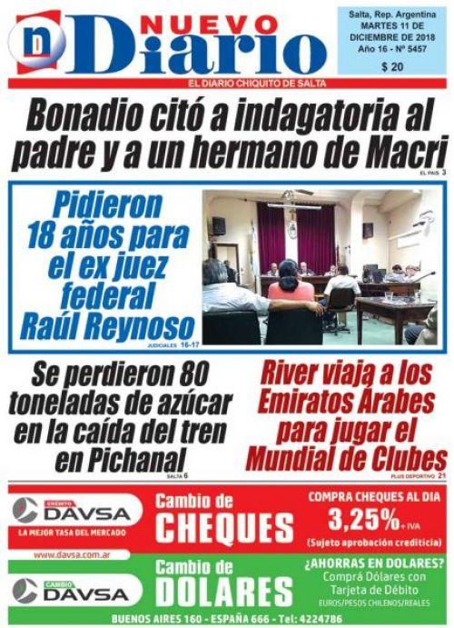 Tapa del 11/12/2018 Nuevo Diario de Salta