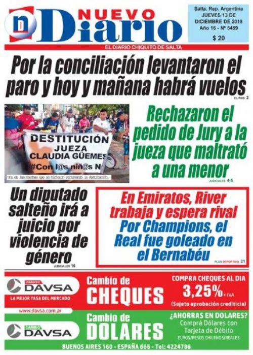 Tapa del 13/12/2018 Nuevo Diario de Salta