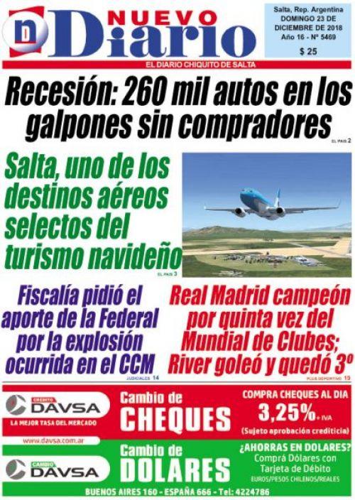 Tapa del 23/12/2018 Nuevo Diario de Salta