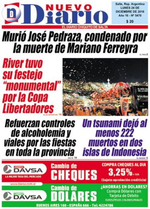 Tapa del 24/12/2018 Nuevo Diario de Salta