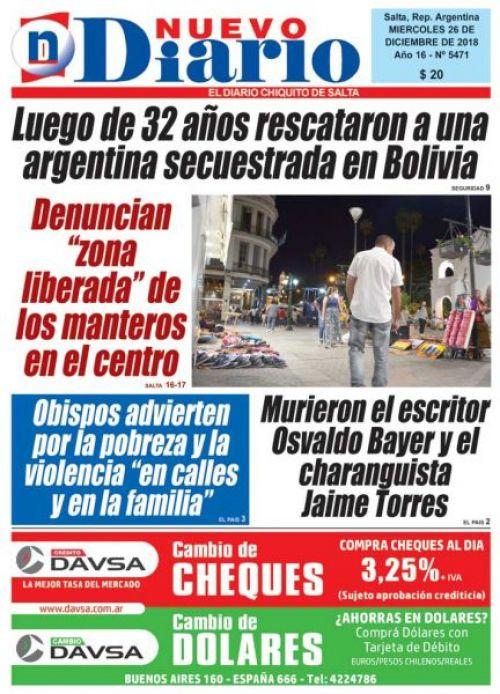 Tapa del 26/12/2018 Nuevo Diario de Salta