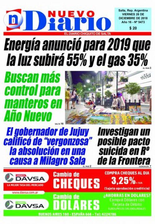 Tapa del 28/12/2018 Nuevo Diario de Salta
