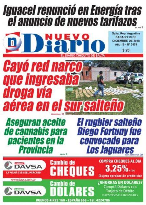 Tapa del 29/12/2018 Nuevo Diario de Salta