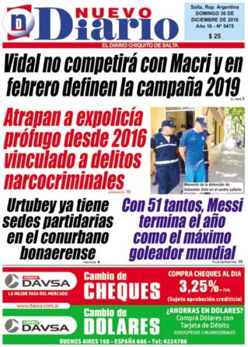 Tapa del 30/12/2018 Nuevo Diario de Salta
