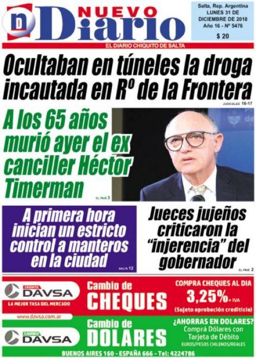 Tapa del 31/12/2018 Nuevo Diario de Salta