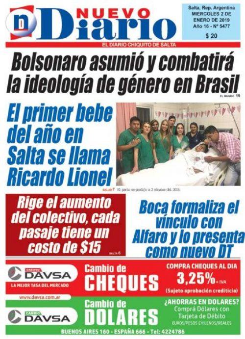 Tapa del 02/01/2019 Nuevo Diario de Salta
