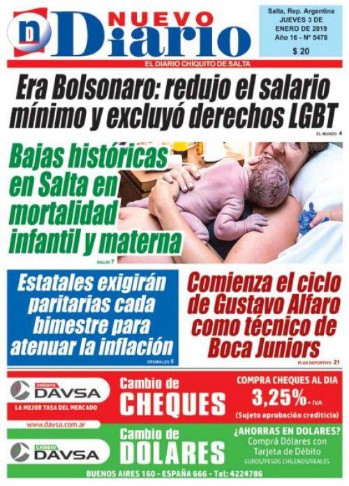 Tapa del 03/01/2019 Nuevo Diario de Salta