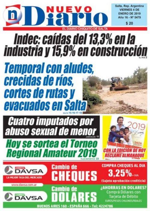 Tapa del 04/01/2019 Nuevo Diario de Salta