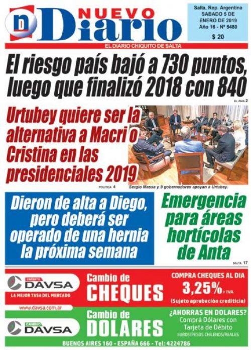 Tapa del 05/01/2019 Nuevo Diario de Salta