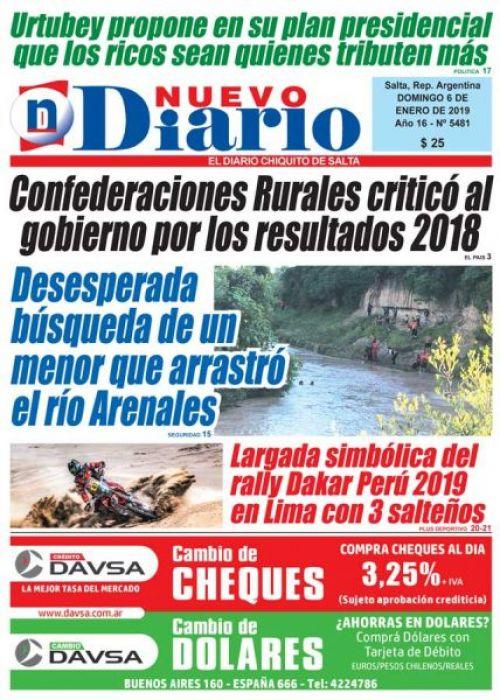 Tapa del 06/01/2019 Nuevo Diario de Salta