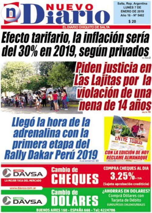 Tapa del 07/01/2019 Nuevo Diario de Salta