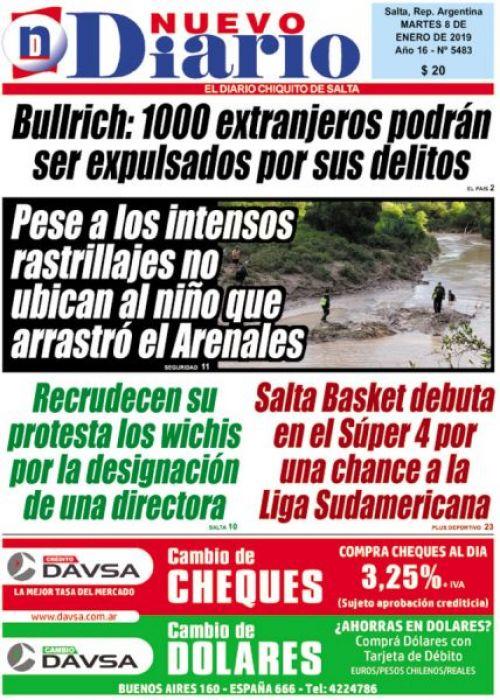 Tapa del 08/01/2019 Nuevo Diario de Salta