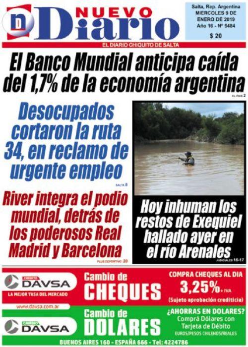Tapa del 09/01/2019 Nuevo Diario de Salta