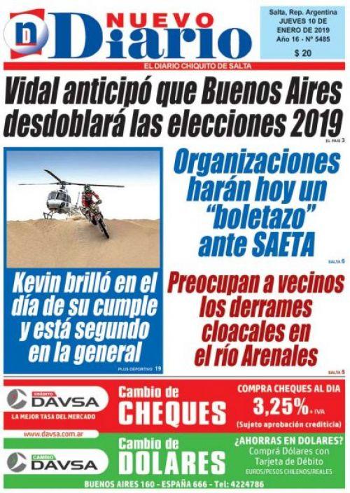 Tapa del 10/01/2019 Nuevo Diario de Salta