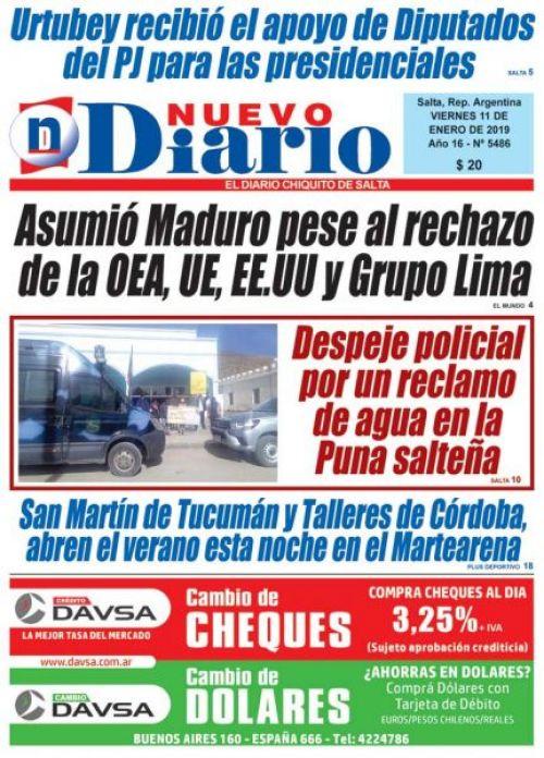 Tapa del 11/01/2019 Nuevo Diario de Salta