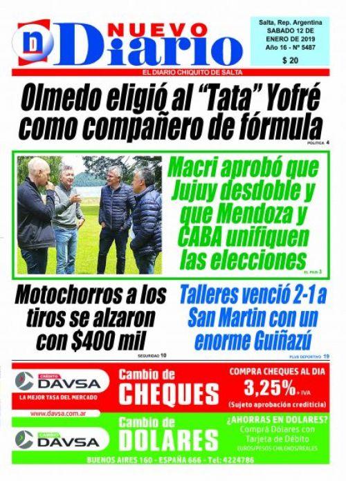 Tapa del 12/01/2019 Nuevo Diario de Salta