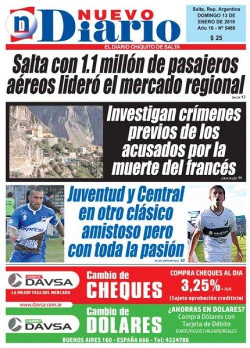 Tapa del 13/01/2019 Nuevo Diario de Salta